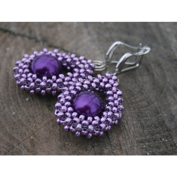 PURPLE EARRINGS beadwoven earrings, DANGLE earrings, drop victorian... (144 PLN) ❤ liked on Polyvore featuring jewelry, earrings, white pearl earrings, pearl jewellery, purple pearl earrings, victorian earrings and long pearl earrings
