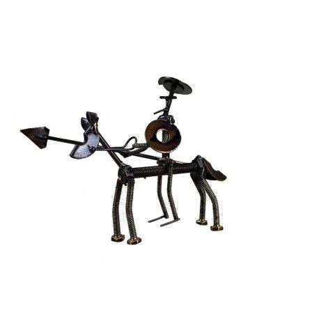 Metal Don Quijote on a Horse- Recycled Parts