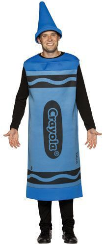Description #4501-03 Blue #4501-04 Green Scribble the streets this Halloween in our Blue or Green Crayon costume!!! This adult sized costume fits all sizes comfortably with two large arm holes for acc