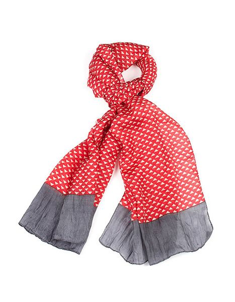 Indus Design Triangle Print Scarf Red/Grey/Natural |Krinkle
