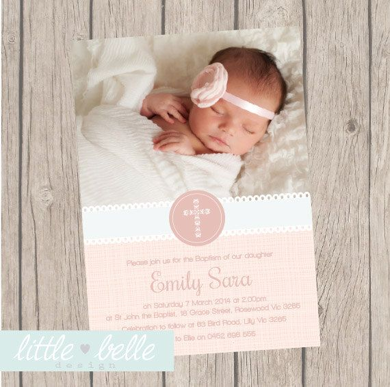 Pretty Lace Girls Photo Baptism/Christening Invitation by LittleBelleDesign