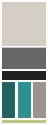 Palette - grays with a teal and a bit of lime.
