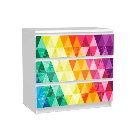 Stickers Commode MALM 3 Tiroirs. Stickers Décoratifs Multi Triangles  Autocollants Pour Meuble Ikea.