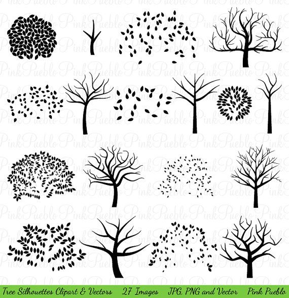 Our Tree Silhouettes Clipart includes 27 PNG files with transparent backgrounds, 27 JPG files with white backgrounds and 1 Adobe Illustrator vector file. The PNGs and JPGs are 300dpi and each complete tree is approximately 10 inches at its widest point. Each image is a black silhouette for easy recoloring in your favorite image editing software. Each tree comes complete and then in two separate pieces so you can recolor the trunk and leaves separately.  We are always BUY THREE GET ONE FREE…