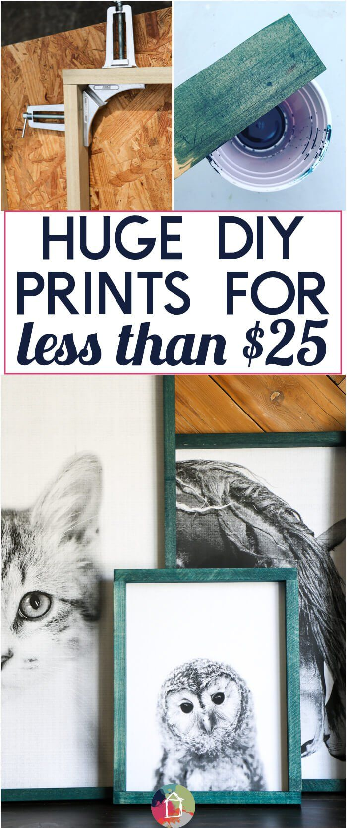 Large wall art can be soooo expensive, but it doesn't have to be! You can create large DIY art without being artistic and without spending much money. This full tutorial shows you how to make huge photos with engineer prints & make easy DIY frames for them. Click through to see the tutorial!
