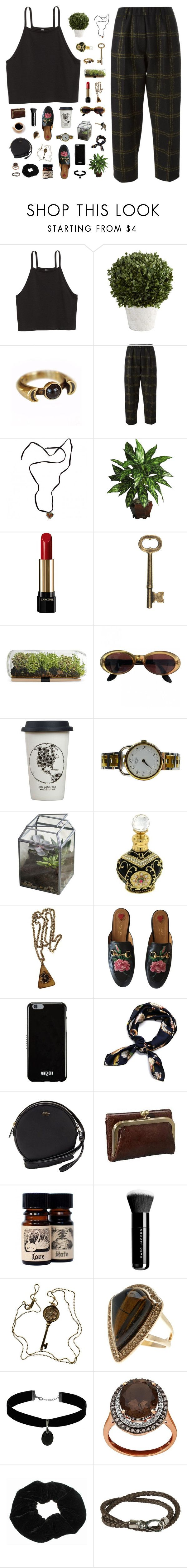 """""""12:29"""" by ajeungs ❤ liked on Polyvore featuring H&M, Pier 1 Imports, Pamela Love, Forte Forte, Baccarat, Lancôme, Gucci, Natural Life, Dot & Bo and Trifari"""