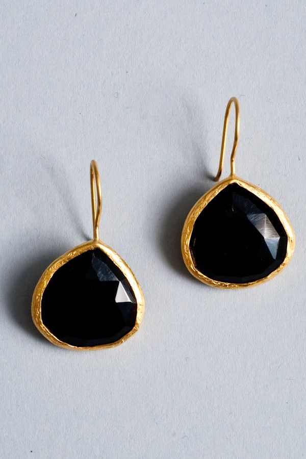black and gold onyx teardrop earrings