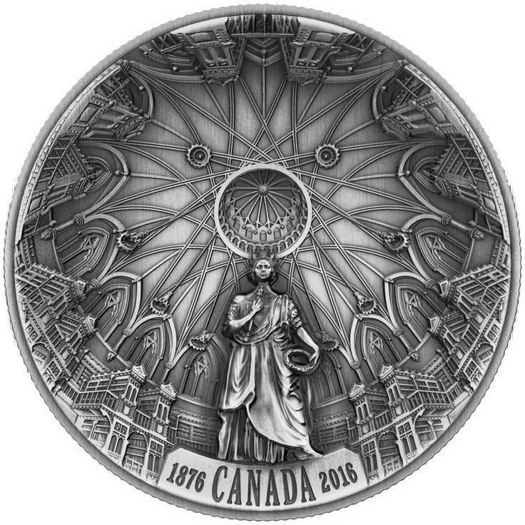 2016 Canada 23 gr $25 silver coin - The Library of Parliament (antique finish and high relief).