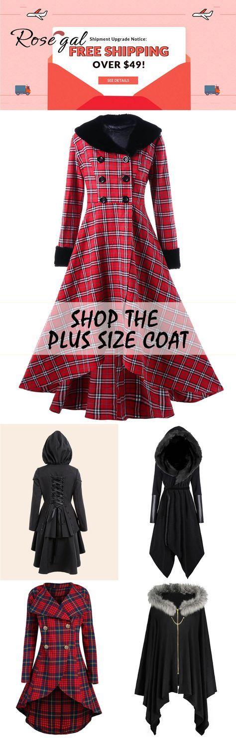 Versandkostenfrei ab 49 €, bis zu 70% Rabatt, Rosegal Plus Size Mäntel Outwear für Damen | Rosegal, rosegal.com, rosegal Kleidung, plus size, Mäntel, kurvig, stilvoll, c …