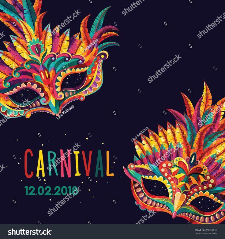 Happy carnival. Festive concept with  mask. Carnival mask. Vector illustration