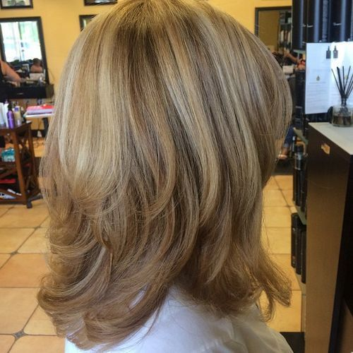 little bt longer layers, start below chin and carmel highlights would work for me medium layered haircut