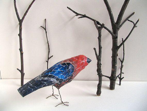 Paper Mache Bird Ready to Ship Gift Handmade by BentEdgeAlchemy