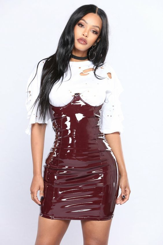 d6dd251c727b Pin on High Gloss Vinyl Fashion | Latex skirt, Latex dress, Leather dresses