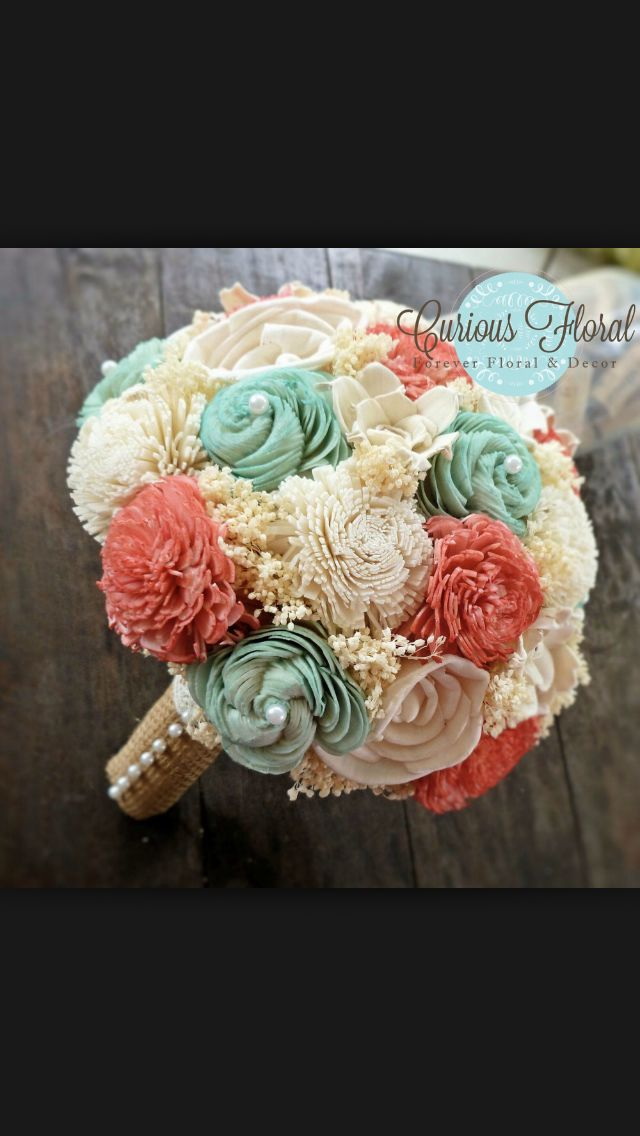 Teal coral and burlap wedding bouquet