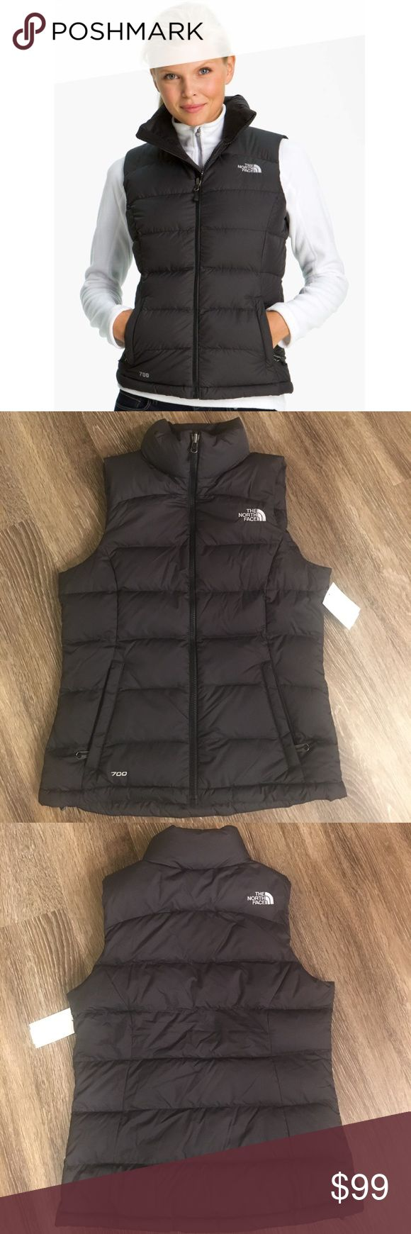 New The North Face Nuptse 2 Quilted Down Vest XS A more feminine, shapely fit updates a coveted cold-weather favorite filled with lofty 700-fill down and quilted with durable sewn-through construction for dependable, consistent warmth in the coldest weather.  Zip-in compatible. Double-layer panels at shoulders. Brushed collar lining. Zip hand warmer pockets; internal zip chest pocket. Stows in side pocket. 700-fill goose down insulation NEW WITH PARTIAL TAGS ATTACHED. SIZE XSMALL. DARK GRAY…