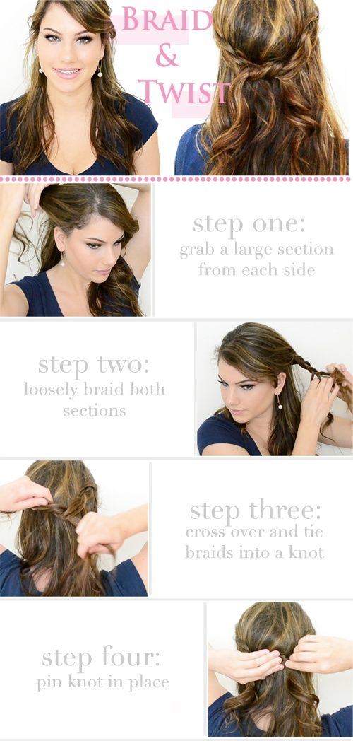 Half Up Hair braided twist.  Blog also has a bunch of neat hair ideas :)