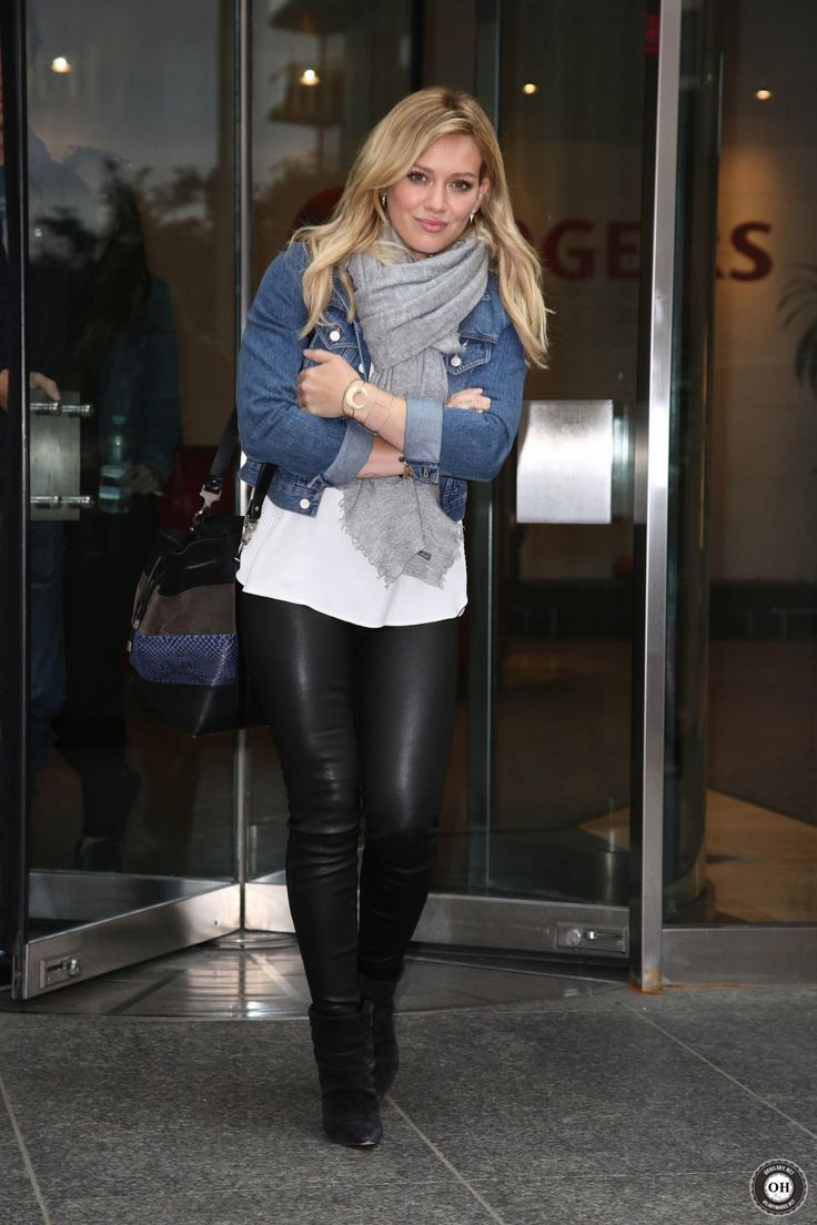 Black pants, white shirt, denim jacket, grey scarf, black ankle boots (Hilary Duff)                                                                                                                                                                                 More