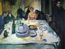 The Wedding of the Bohemian, Munch Seated on the Far Left - Edvard Munch