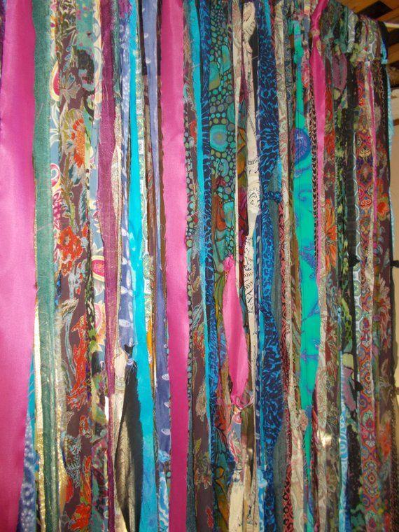 BOHO Gypsy Hippie Garland Curtain Room Divider Dorm Shower Backdrop Door Teen Rag Glamper Close
