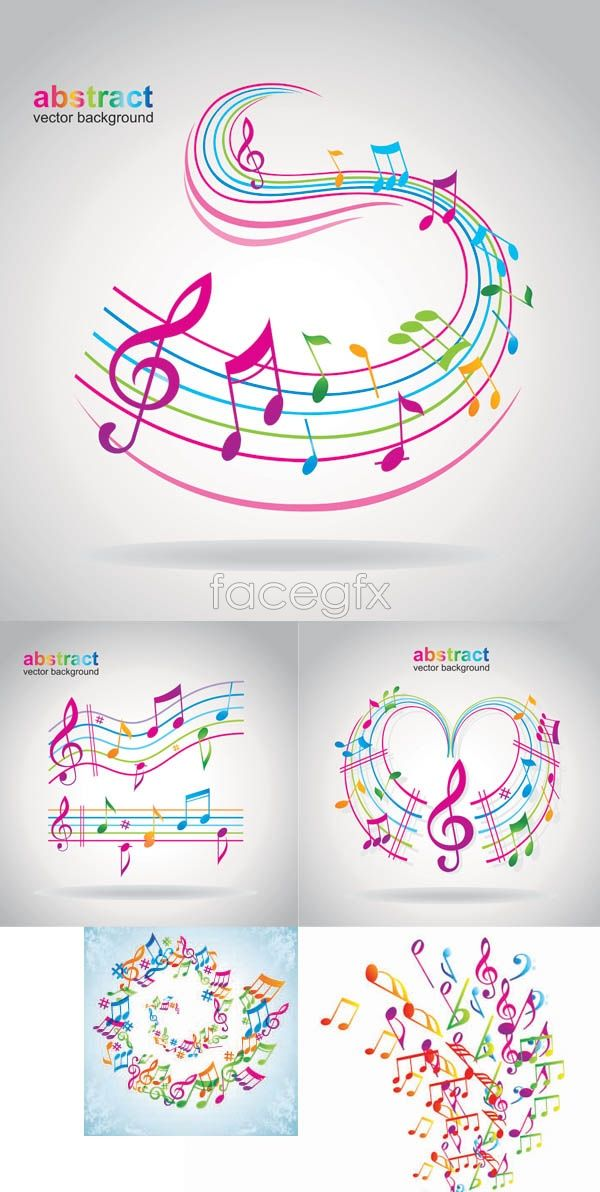 Dancing musical notes vectors