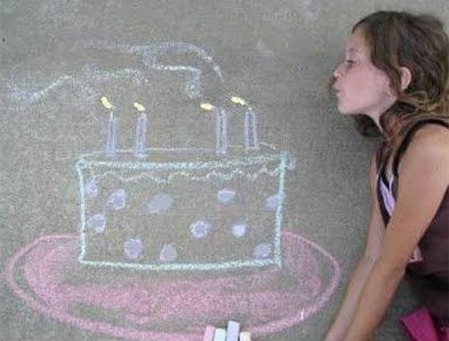 22 Totally Awesome Sidewalk Chalk Ideas - Birthday Cake Sidewalk Chalk Art