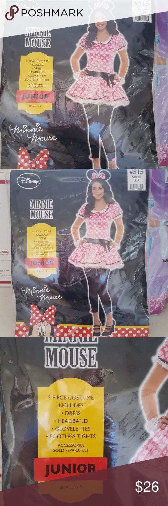 Minnie mouse costume junior or petite NWOT Disney Minnie mouse costume. Junior or petite.  Size small 3 to 5. Brand new. Sealed accessories . Never worn. Includes dress, headband, glovelettes,  and rootless tights. Perfect for Halloween or costume party Other