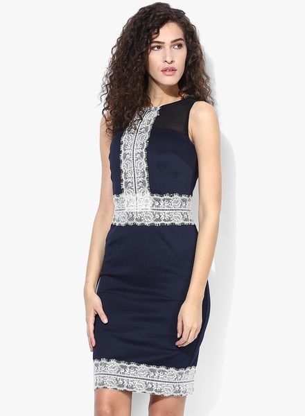 Navy Blue And Cream Lace Pencil