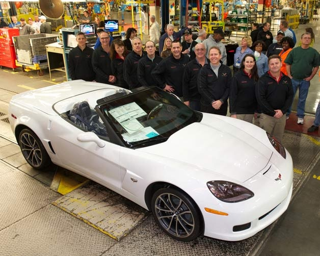 While production of the newest addition to the Corvette family picks up, C6 production comes to a halt. The final C6 Corvette ever, No. 13,466 built this year, was a white 427 Convertible destined for the General Motors Heritage Center museum. The car's 7.0-liter V8 heart was assembled by Corvette chief engineer Tadge Juechter himself. *Courtesy of Auto Blog
