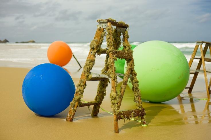 Colourful Beach Ceremony on Keurbooms Beach, Plettenberg Bay - Massive balloons & ladders