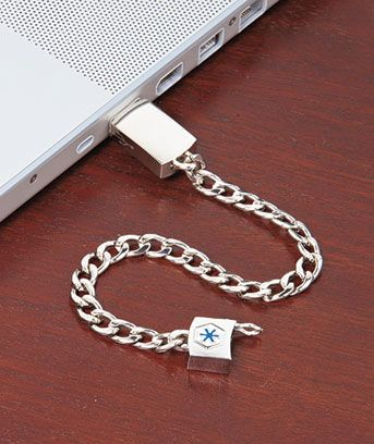 Carry your complete medical history with you wherever you go with this MD Alert Bracelet. I so want one :)