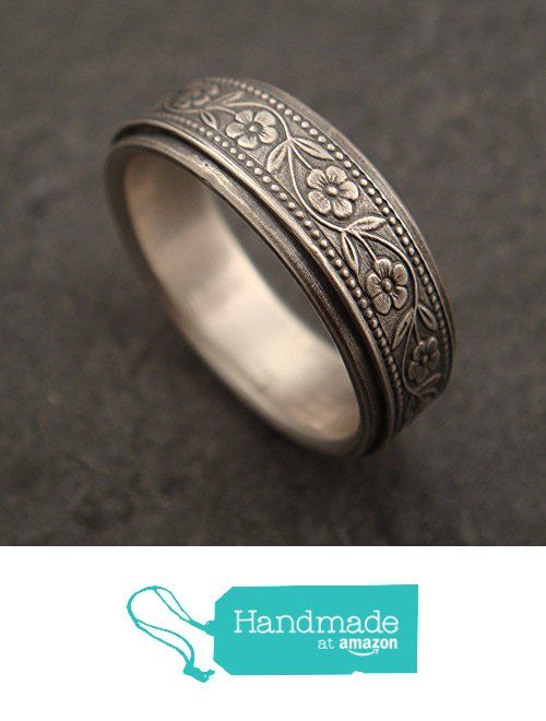 Floral Wedding Band in 14k White Gold - Handmade in Seattle from Down to the Wire Designs http://smile.amazon.com/dp/B015NPZNXU/ref=hnd_sw_r_pi_dp_mzNfwb1Y72M5H #handmadeatamazon