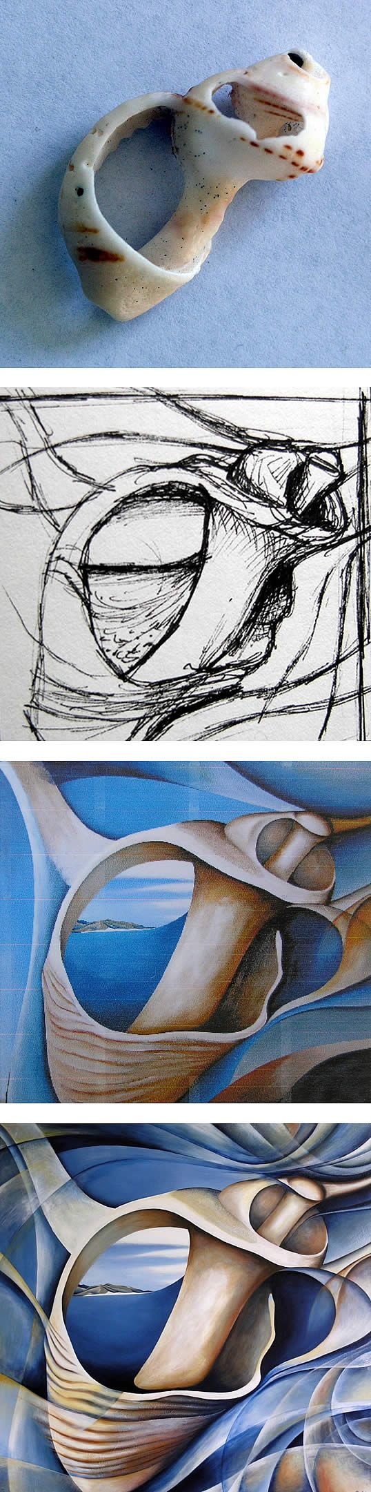 object inspired surrealism: Step-by-step shell painting by Amiria Robinson, www.studentartguide.com