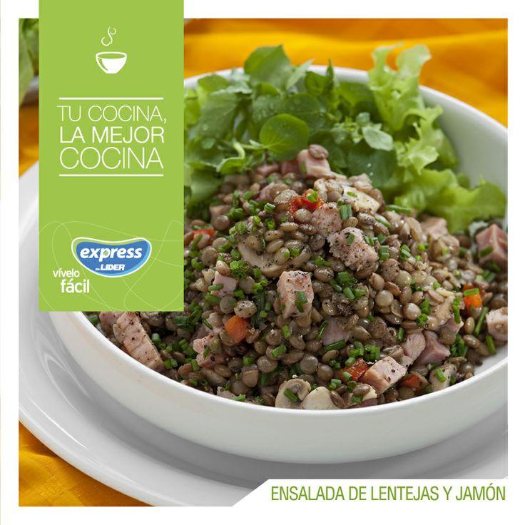 Ensalada de lentejas y jamón. #Ensalada #Salad #Lentejas #Recetario #RecetarioExpress #Lider