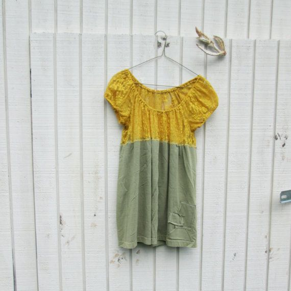 womens fashion, lace dress, upcycled clothing / mustard yellow and sage green, romantic dress, summer dress.