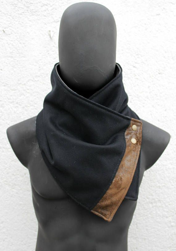 Unisex scarf. Men & women cowl. Black wool and faux suede leather,Modern and cozy neckwarmer.Mens winter.Husband gift.gift for women