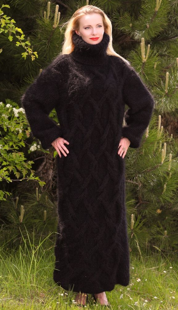 Black hand knitted long mohair sweater dress SUPERTANYA fuzzy thick gown ON SALE #SuperTanya #TurtleneckMock