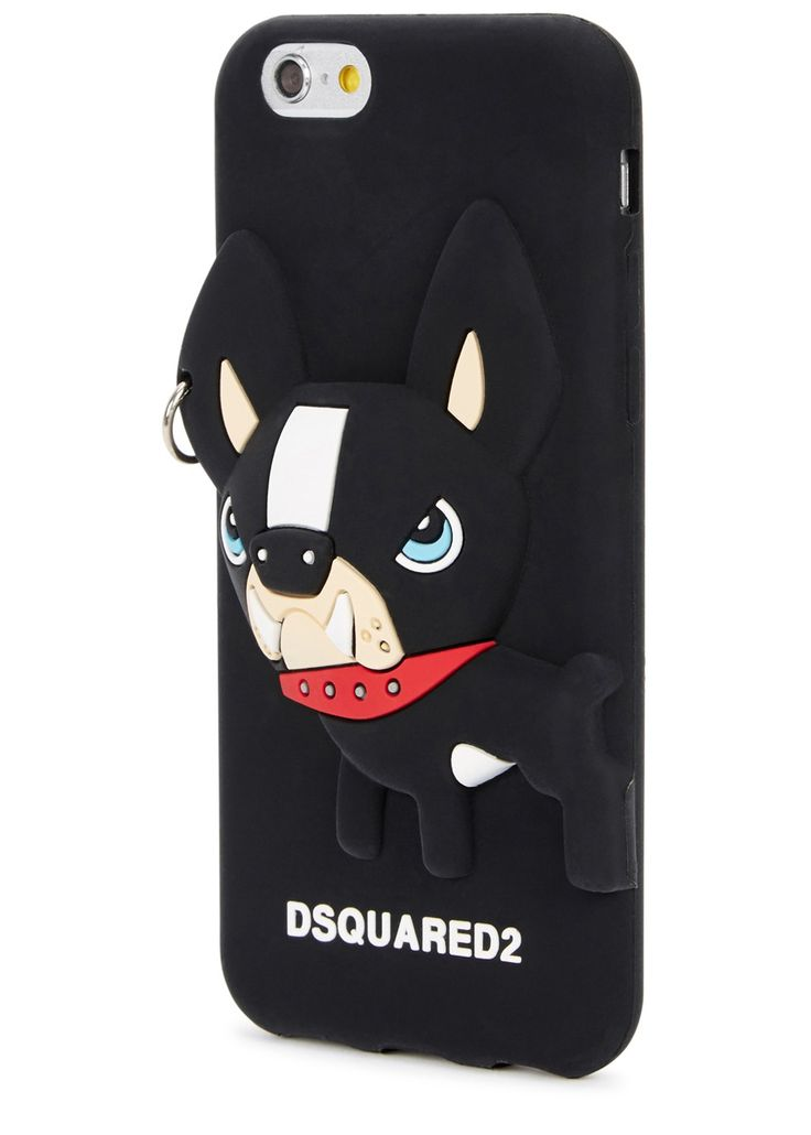 DSQUARED2 black silicone iPhone 6/6S case French Bulldog with pierecing, designer stamped Presented in a designer-stamped box