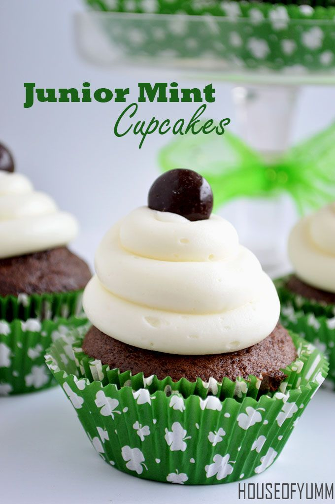 Junior Mint Cupcakes.  Minty chocolate cupcakes, creamy mint filling, and topped with mint frosting!