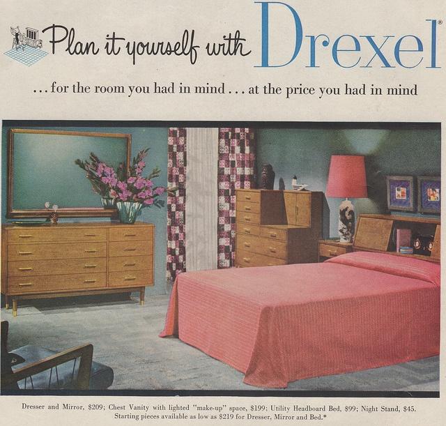 Drexel bedroom furniture advertisement. 48 best images about Vintage Bedrooms on Pinterest   1950s bedroom