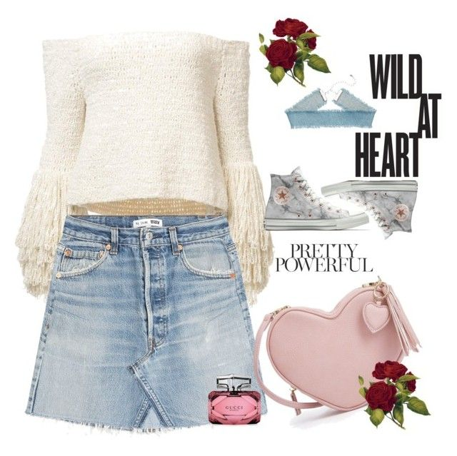 powerful heart by sparklypupil on Polyvore featuring polyvore fashion style RE/DONE Converse Gucci clothing