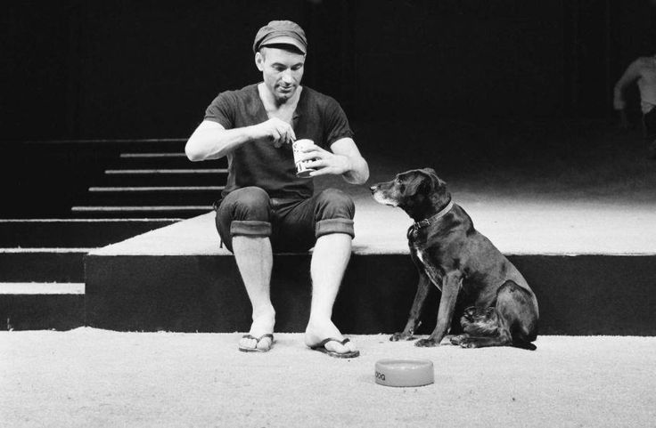 English actor Patrick Stewart as Launce, with his dog Crab, during rehearsals for Robin Phillips' production of 'Two Gentlemen Of Verona' for the Royal Shakespeare Company, London, 15th September 1970. The play opened at the Aldwych theatre, London, the following December.