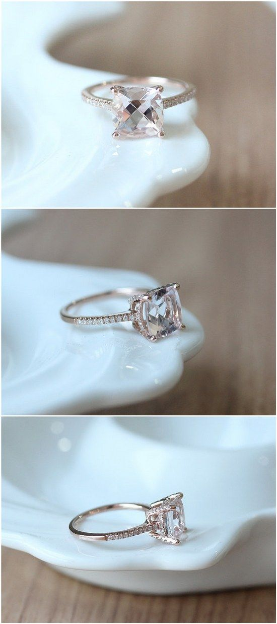 Cushion Cut Morganite Rose Gold Engagement Ring / http://www.deerpearlflowers.com/inexpensive-engagement-rings-under-1000/2/