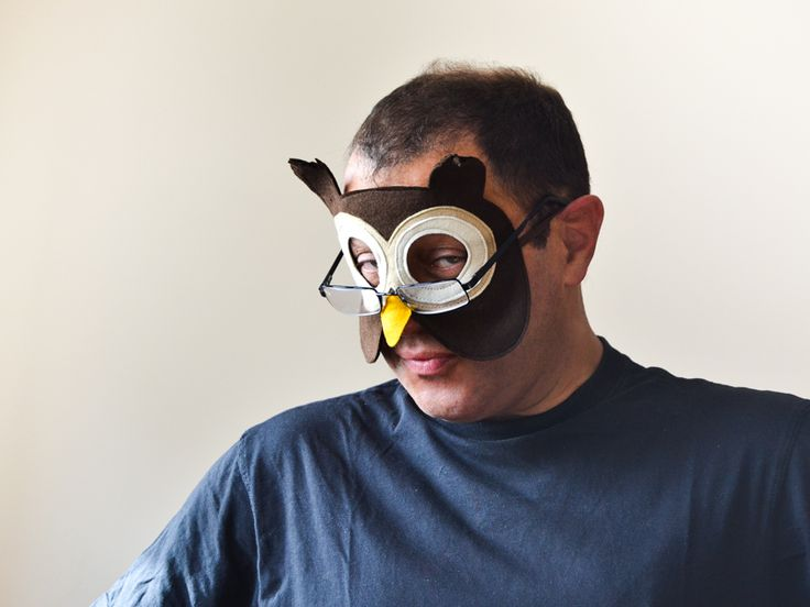Felt owl mask for adults. Halloween or Carnival dress up costume accessory for women and men.
