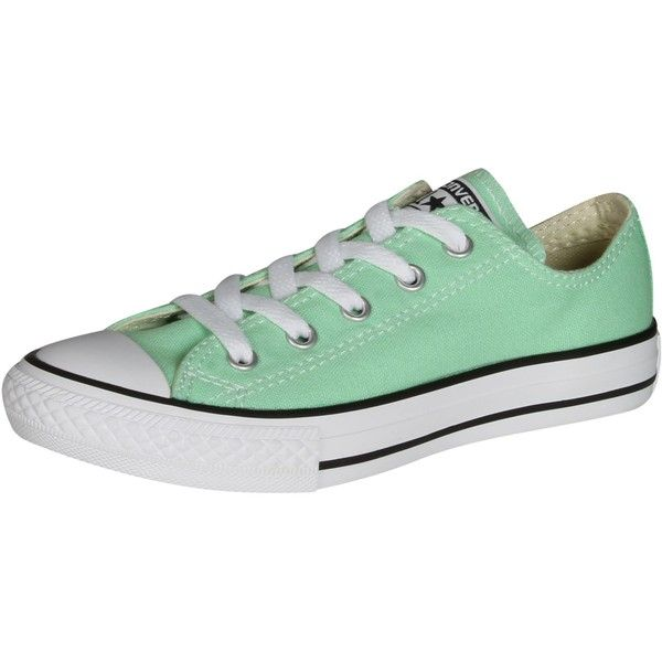 Converse Girls And Women Chuck Taylor Low Top Sneakers Peppermint 11 found on Polyvore featuring shoes, sneakers, converse footwear, low top, converse shoes, converse trainers and low profile shoes