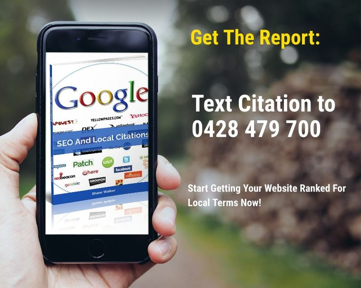 Free Report: SEO And Local Citations  Learn how to rank for local search terms by getting local listings and local citations.    Text Citation to 0428 479 700    http://wu.to/a1sPVC