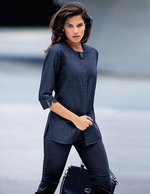 Die Edel-Ausführung des coolen Denim-Klassikers: das puristische Jeanshemd mit Strass.