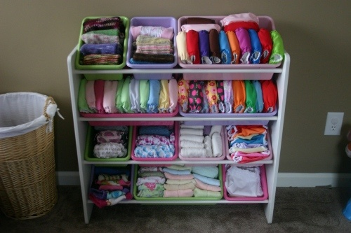 best cloth diaper organization i've seen! i wish the bins came with clear tops though, to keep out dust.