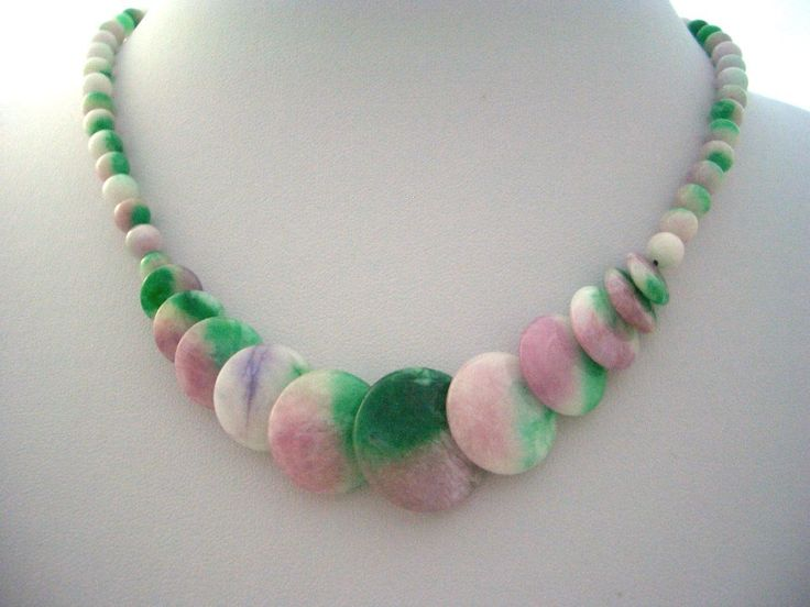 Natural Apple Green, Pink, Lavender CANDY JADE Coin and Round Beads Gracious and High Quality Necklace! by AmeogemJewellery on Etsy