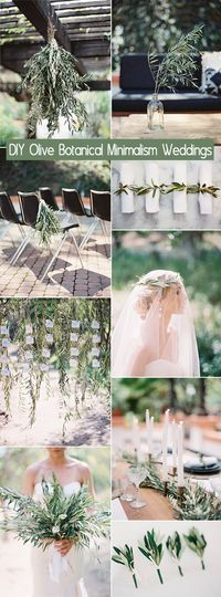Easy DIY olive branch botanical minimalism wedding ideas