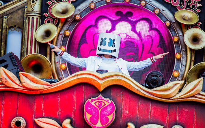 Télécharger fonds d'écran Marshmello, DJs, Tomorrowland, 2017, superstars, DJ Marshmello